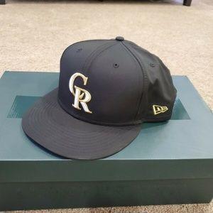 Colorado Rockies New Era Hat 7 5/8 Black Gold